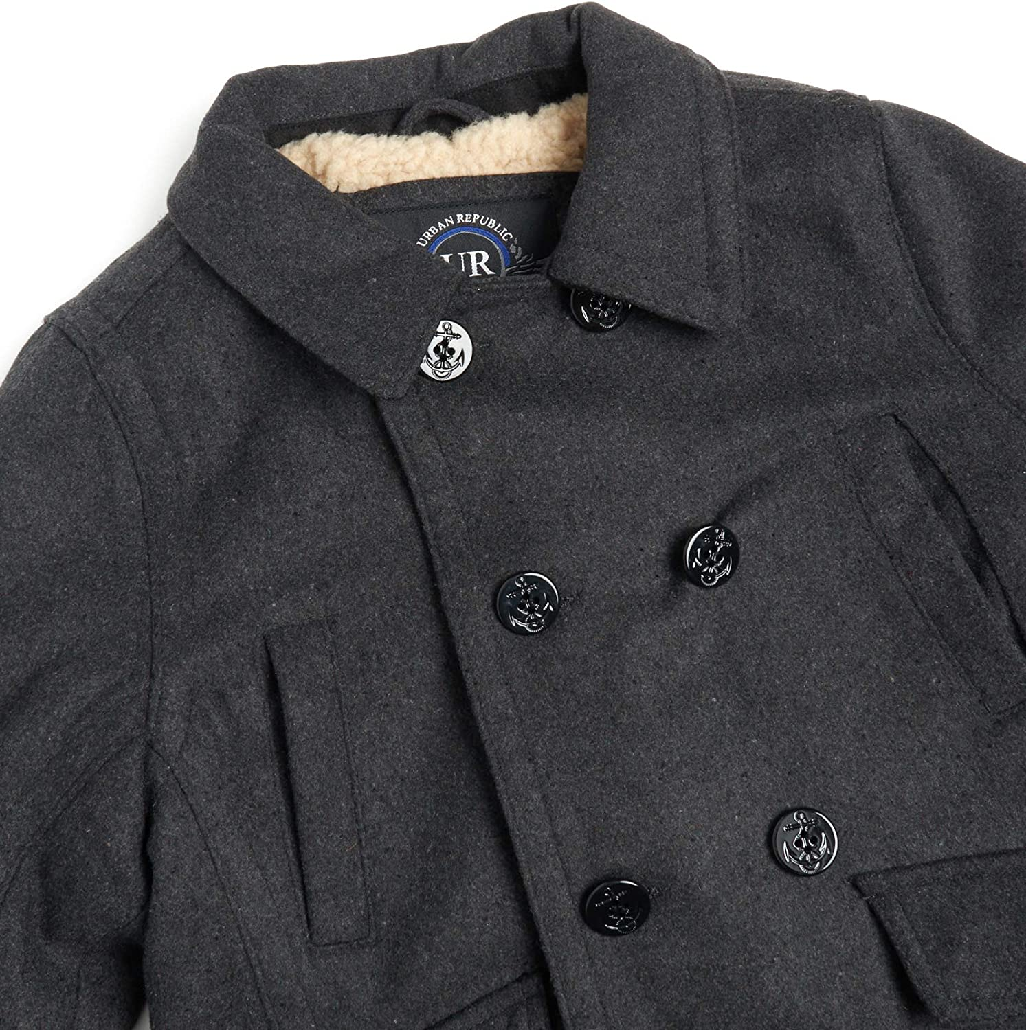Urban Republic Boys Wool Blend Peacoat with Faux-Fur Lining and Flap Pockets