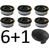 6x Bobine de rechange pour coupe-bordures + 1Cache-bobine/Hotte compatible avec ALDI Gardenline Coupe-bordures électrique GLR 450451452453454455456457458459& GLR 450/1450/2450/3450/4450/5450/6450/7450/8450/9GLT & 451452453454455456457458459