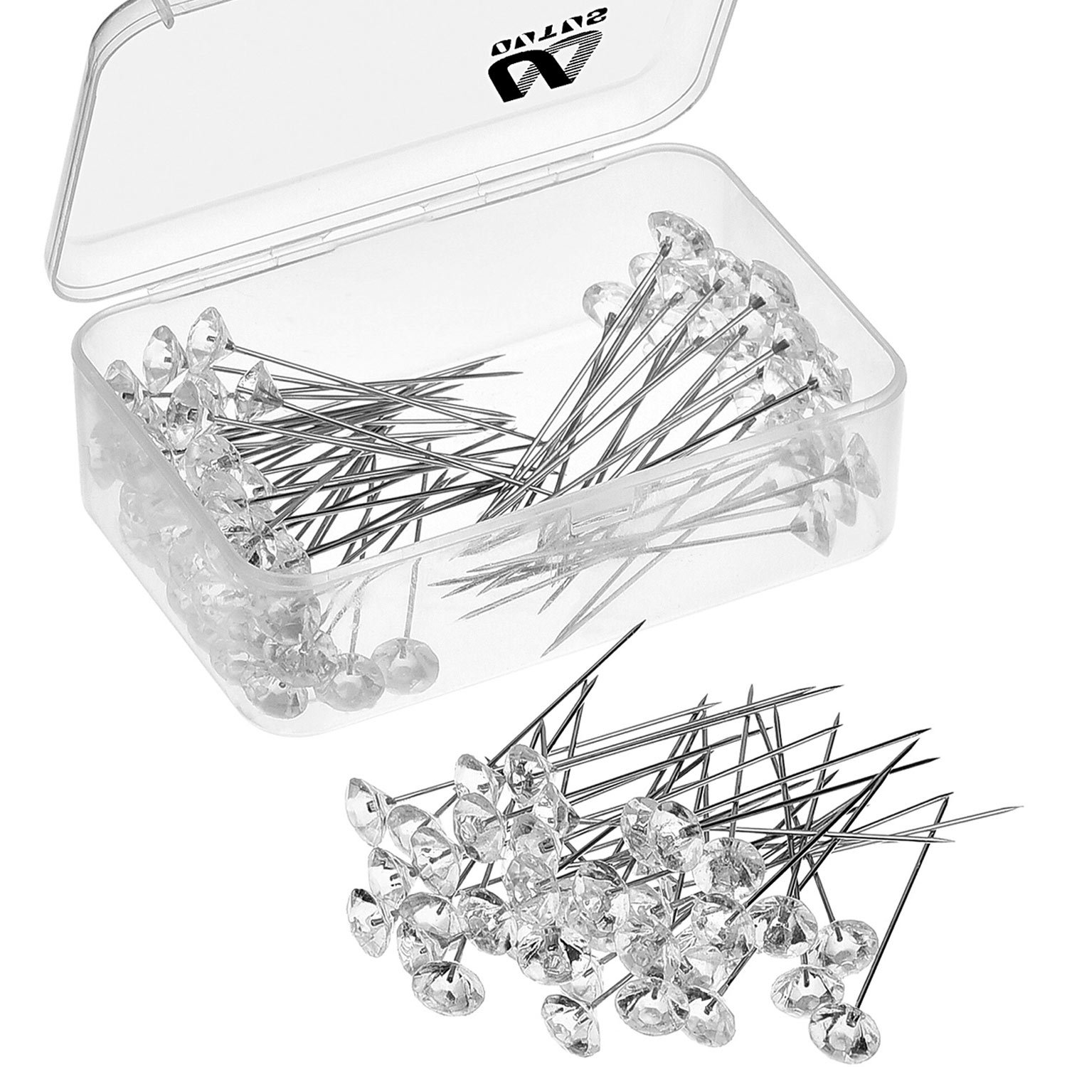 Best pins for bouquets amazon outus 100 pieces flower pins corsages pins head pins wedding bouquet pins crystal pins floral bouquet pins clear 2 inch izmirmasajfo