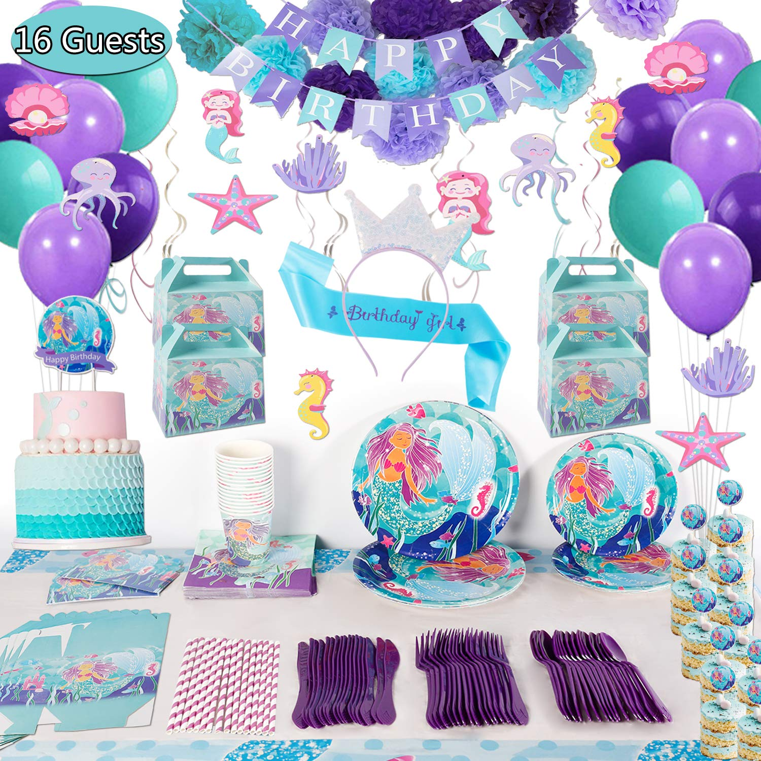 Mermaid Birthday Party Supplies Decorations Kit Favors - Serves 16 Guests -Tablecloth, Plates, Napkins, Cups, Spoons, Knives, Banner, Balloons, for Girl's Birthday Party and Baby Shower Decor -207 Pcs by Enjoy Holiday 1981
