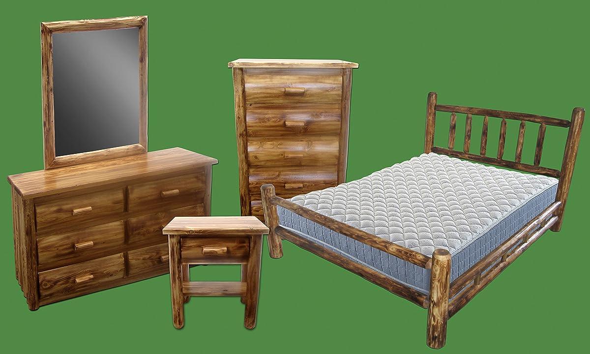 Midwest Log Furniture - Torched Cedar Log Headboard - Queen