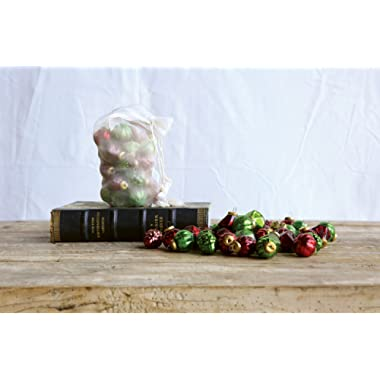 Creative Co-op XC3415A 1 H Mercury Glass Ornaments In Organza Bag, 3 Styles, Red & Green, Set of 36