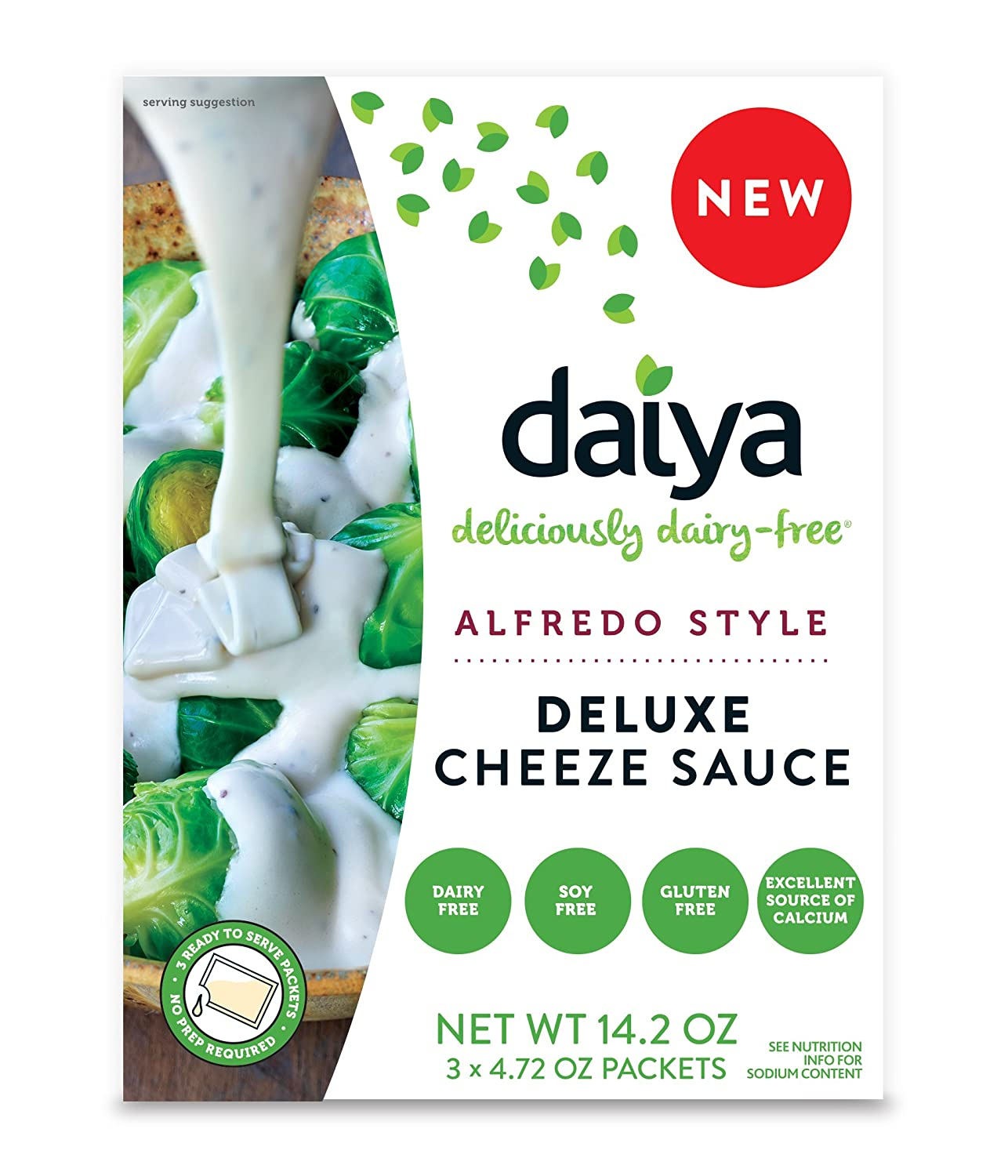 Daiya Alfredo Style Cheeze Sauce :: Creamy Veggie, Fettuccine & Spaghetti Sauce :: Vegan, Dairy Free, Gluten Free, Soy Free, Rich Cheesy Flavor :: Box Contains 3 Packets (2 Servings Each) (Pack of 1)