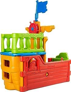 ECR4Kids Indoor/Outdoor Buccaneer Boat with Pirate Flag Play Structure for Kids, Orange