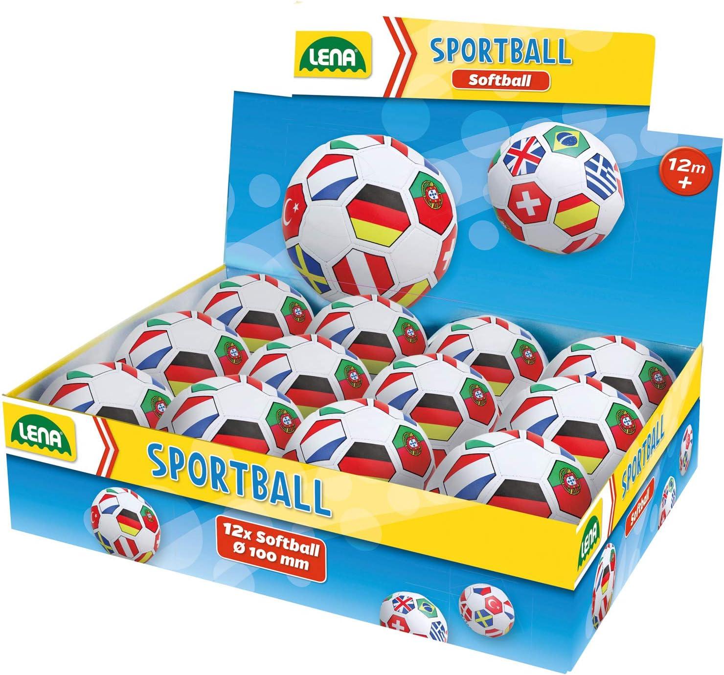 62174EC LENA Lot Drapeaux de Football Kiga-pour Jardin balles Souples-Diam/ètre 10 cm-Ballon color/é-pour lint/érieur et lext/érieur-pour Les Enfants /à partir de 12 Mois