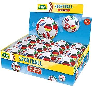Spielball f/ür Kinder ab 12 Monaten Kindergarten Pack Lena 62174EC Soft Fu/ßball L/änderflaggen KIGA Set 12er Ball /Ø 10 cm Kinderball f/ür Drinnen und Drau/ßen Softball bunt