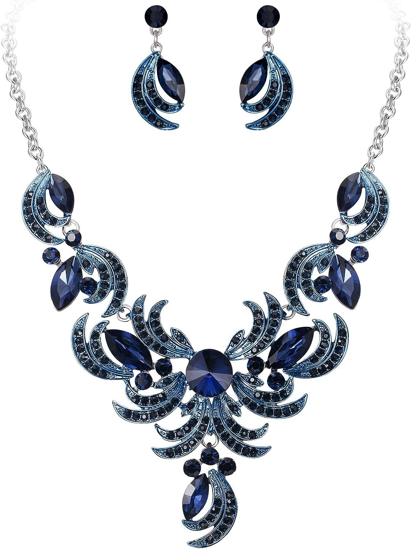 Clearine Juegos de Joyas de Mujer Cristal Lágrimas Forma Hoja Curva Encaje Collar y Pendientes para Novia Boda Fiesta