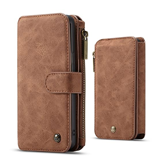 f96c634e86e4 CaseMe Samsung Galaxy S9 Plus Wallet Case,Detachable Premium Leather  Case,13 Card Slots,1 Photo Frame Zipper Magnetic Cover-Brown