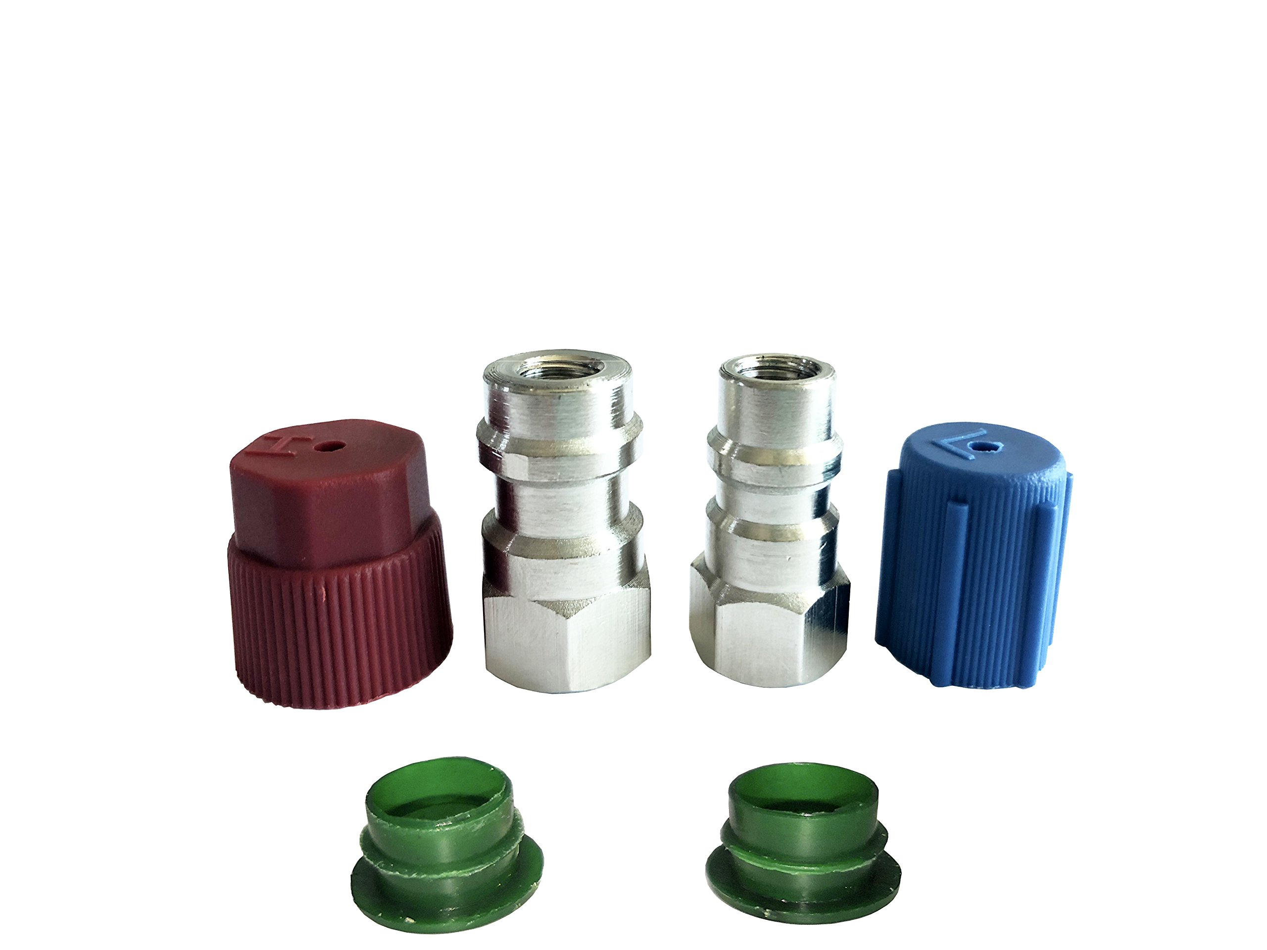 GooMeng4S R-12 to R-134a Retrofit Conversion Adapter Fitting 1/4 SAE Thread,R12 to R134a High/Low AC Fitting