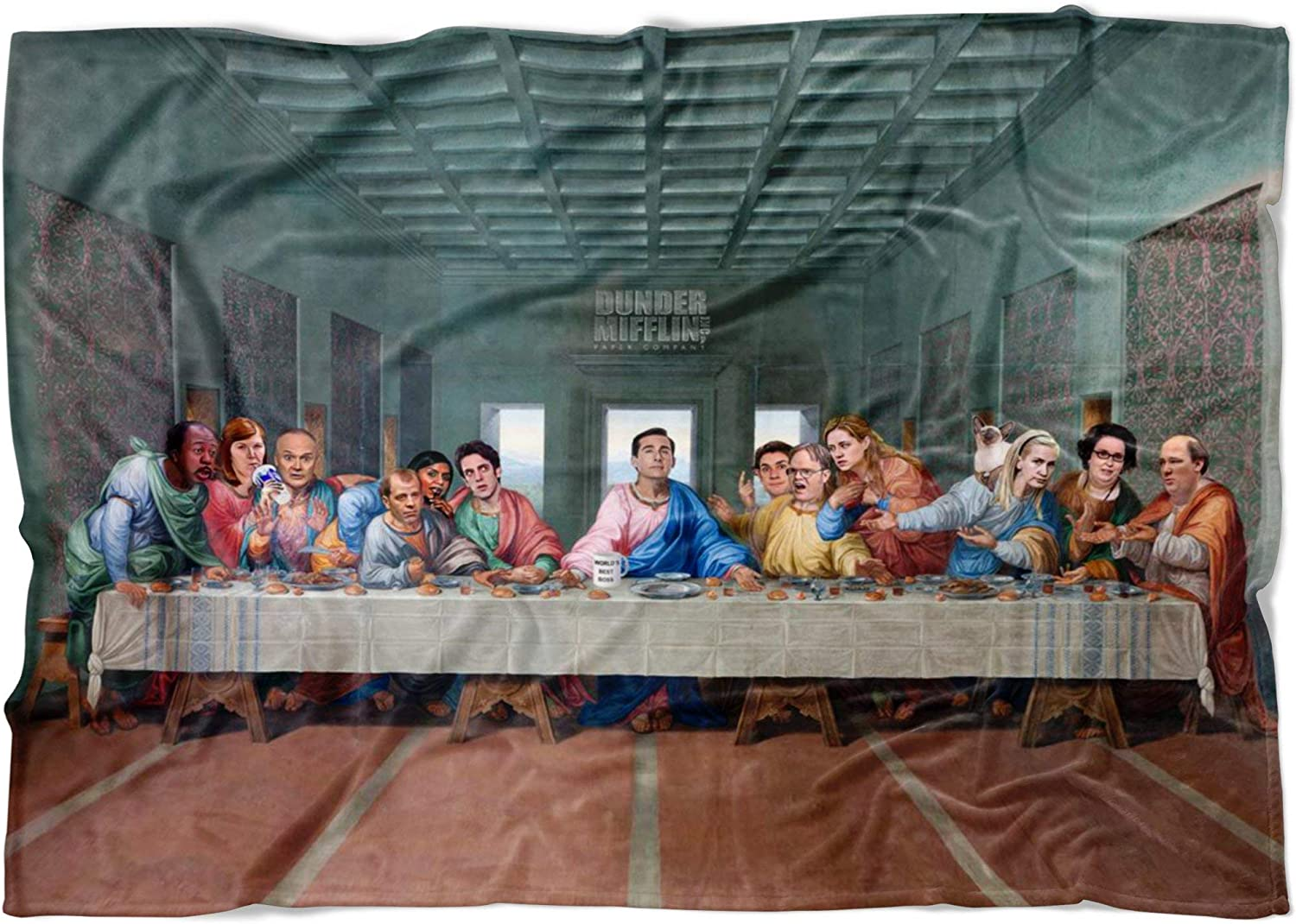 The Last Supper at Dunder Mifflin Fleece Throw Blanket - The Office TV Show Funny Meme Throw Blanket - Funny Blankets for Adults