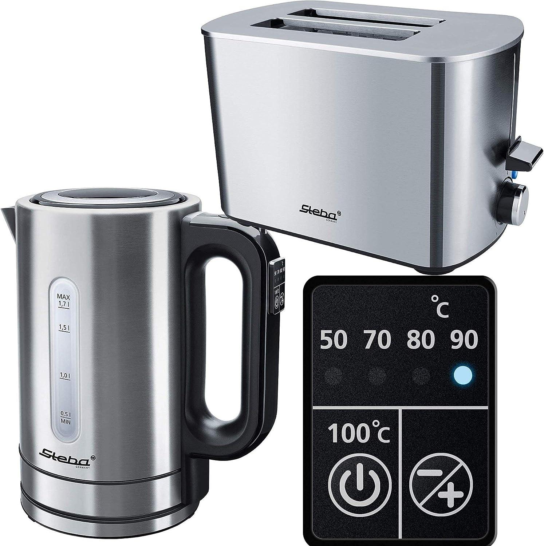 Wasserkocher inox mit Temperatureinstellung Fr/ühst/ücksset Steba Fr/ühst/ücks-Set Inox 2 ScheibenToaster