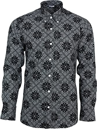 ea743b308da Relco Mens Black   White Abstract Paisley Long Sleeved Button Down Vintage  Shirt Mod 60s 70s
