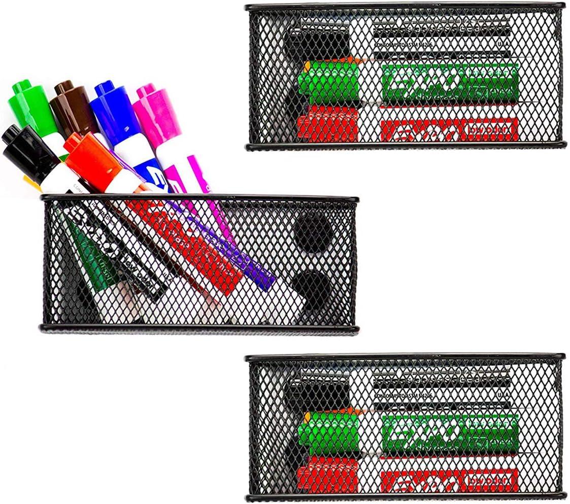 Ollieroo Pack of 3 Magnetic Pen Holder Mesh Pencil Holder Markers Storage Basket Organizer for School Locker Whiteboard Refrigerator