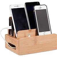 Relaxdays Bamboe laadstation, bureau mobiele telefoonhouder voor 6 apparaten, houten kabelbox voor orde, HBT 9 x 17 x 13 cm, naturel
