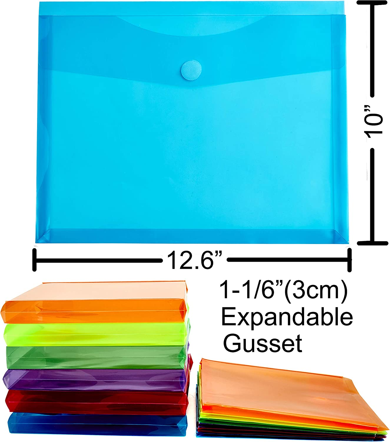 Letter A4 Size Reusable Poly File Document Folders Envelopes with Expandable Gusset for School Home Office FANWU 12 Pack Assorted Color Plastic Envelopes with Hook /& Loop Closure 1-1//6 Expansion