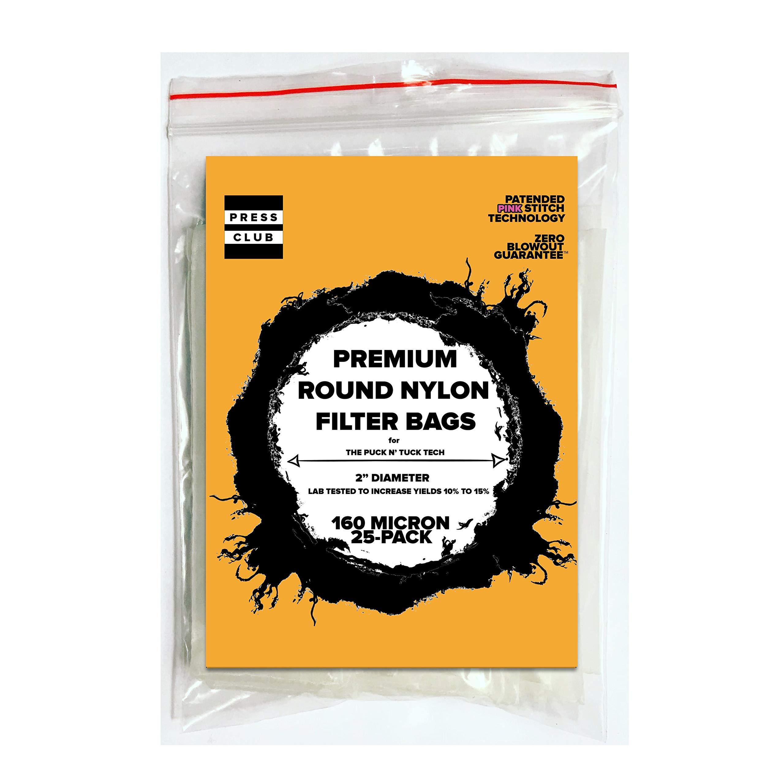 160 Micron   Premium Round Circle Nylon Tea Filter Screen Press Bag   2'' Inch Diameter   25 Pack  Zero Blowout Guarantee   All Micron & Sizes Available