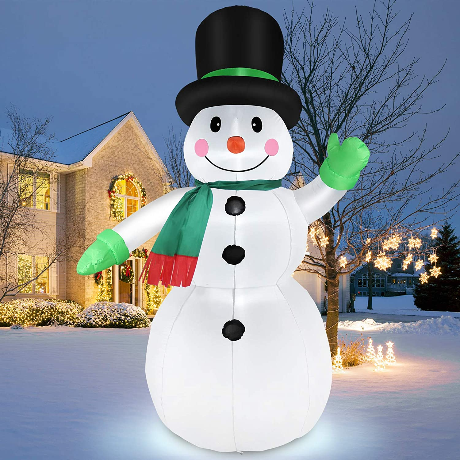 7 Feet Inflatable Snowman Outdoor Holiday Yard Decorations, Blow Up Snow Man with LED Lights, Christmas Decorations Inflatables, Winter Decor for Garden Patio Lawn, IP44 Weather Proof, Xmas Kids Gifts