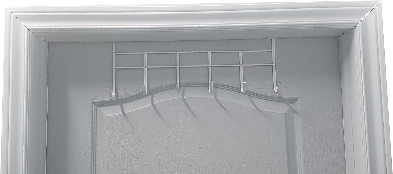 Organizer Rack Hanger for Coats 6-Hooks. White Vinyl Coated THD Back Pack.etc Heavy Duty Over The Door Hook Hats Robes Towels