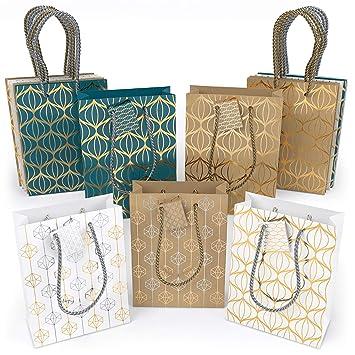 ARTEZA Bolsas de regalo | 24 x 17.8 x 8.6 cm | Set de 15 bolsas | 6 de papel kraft + 6 blancas + 3 azules | Diseños originales de láminas metálicas | ...
