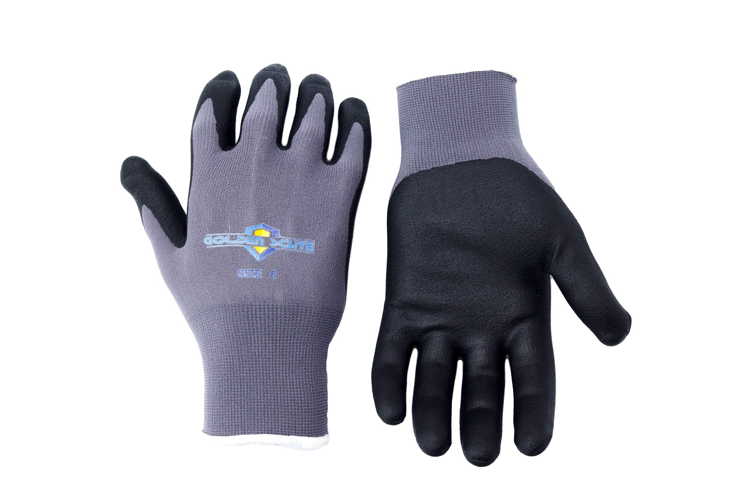 Golden Scute 6 Pairs Micro-Foamed/Ultra-Thin Nitrile Coated Work Glove, Touchscreen Technology, Safety Gloves for Landscaping, Material Handling, Gardening, Assembly (Medium/Size 8)