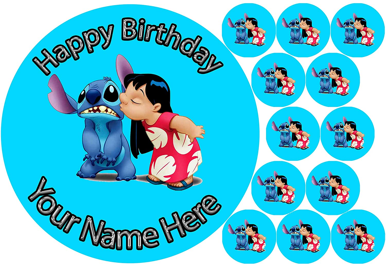 Cup Cake Toppers  Rice Paper or Icing 21st Birthday Blue Edible Fairy