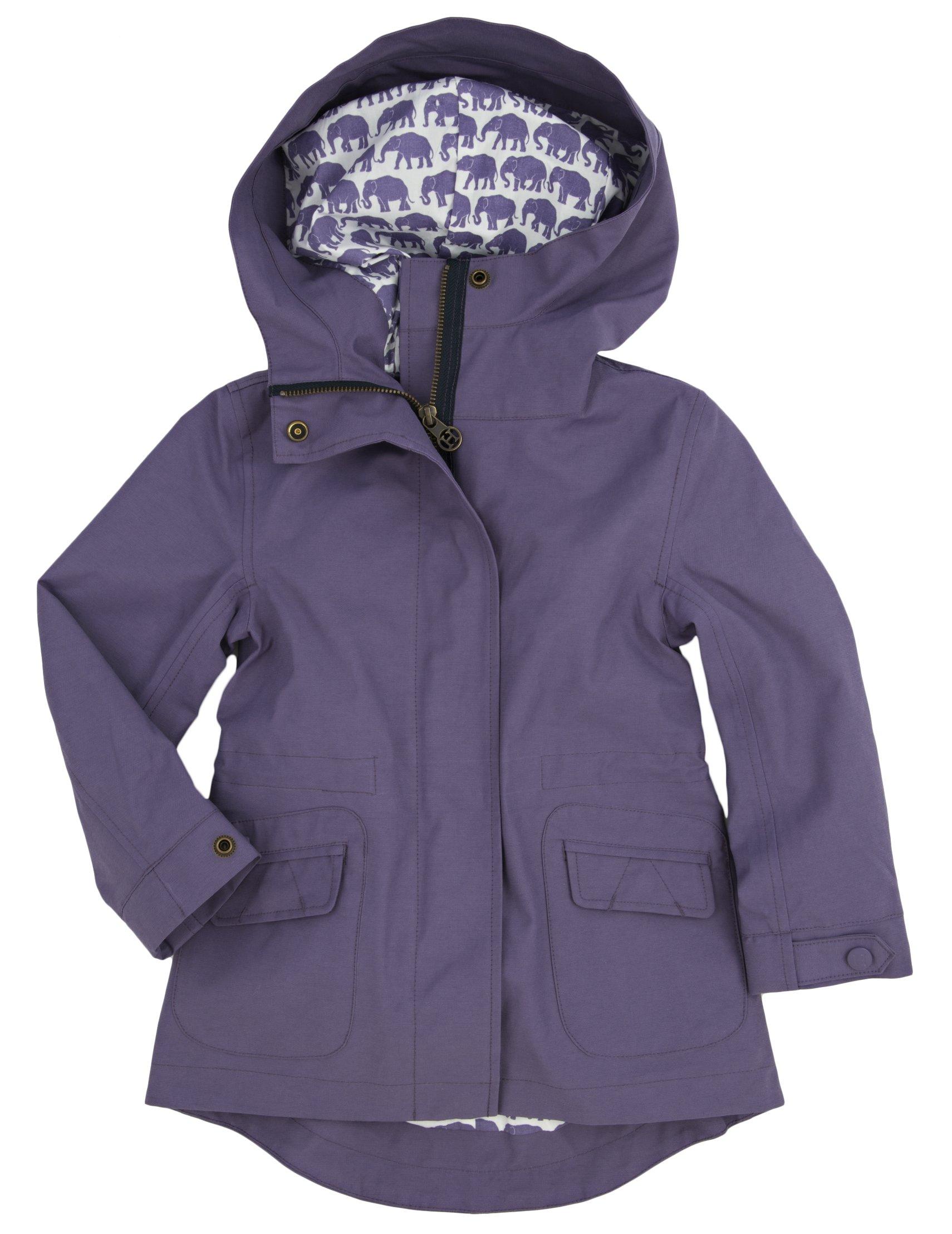 Hatley Little Girls' Soft Shell Rain Jacket Elephants, Purple, 4