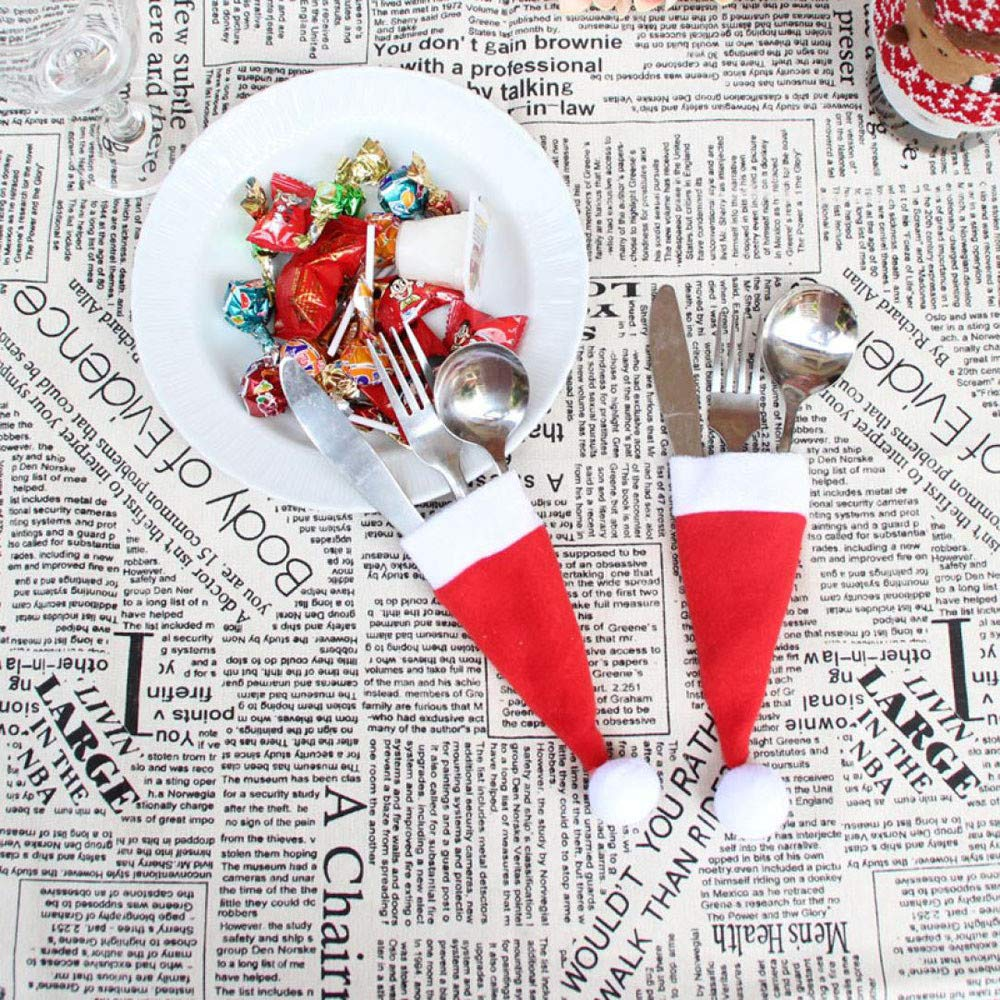 HANANei Lovely Christmas Decorative Tableware Fork Set Christmas Hat Storage Tool (D:1Pc)