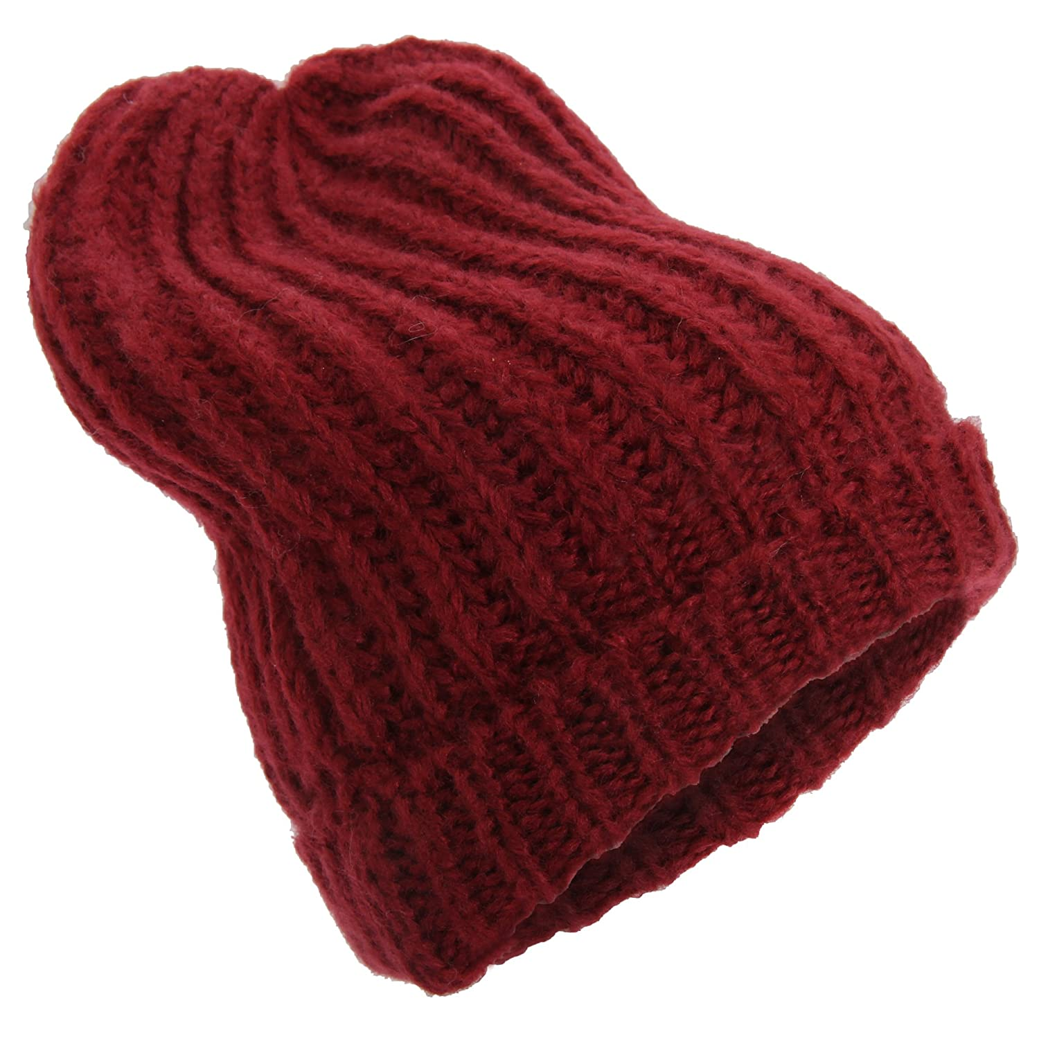 f0a3938e570 Universal Textiles Womens Ladies Knitted Winter Slouch Beanie Hat (One Size)  (Burgundy)  Amazon.co.uk  Clothing