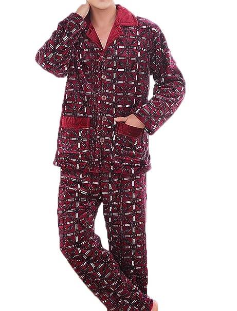 Pijamas Hombres De Invierno De Espesor De Franela Mangas Largas Dos Conjuntos De Celosía Yardas Grandes