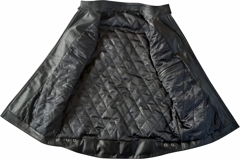 DHA Leather Garments Giacca da Motociclista in Vera Pelle Nera da Uomo