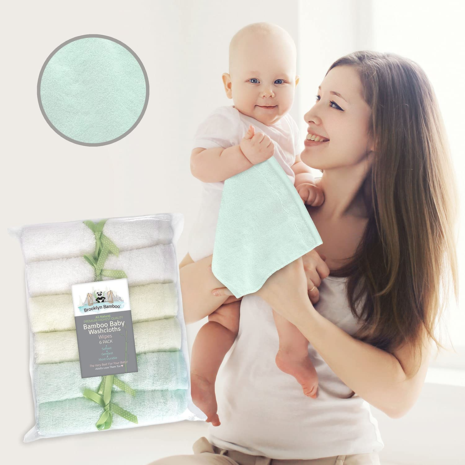 Brooklyn Bamboo Baby Washcloth / Wipes 6 Pack Organic, SOFT, Larger 10x10 Size Use With Your Favorite Baby Bathing Skin Care Products And Children's Bath Towels. SOFTEST, Most Absorbent, Durable & Sustainable Washcloths On The Planet! Gentle Enough For