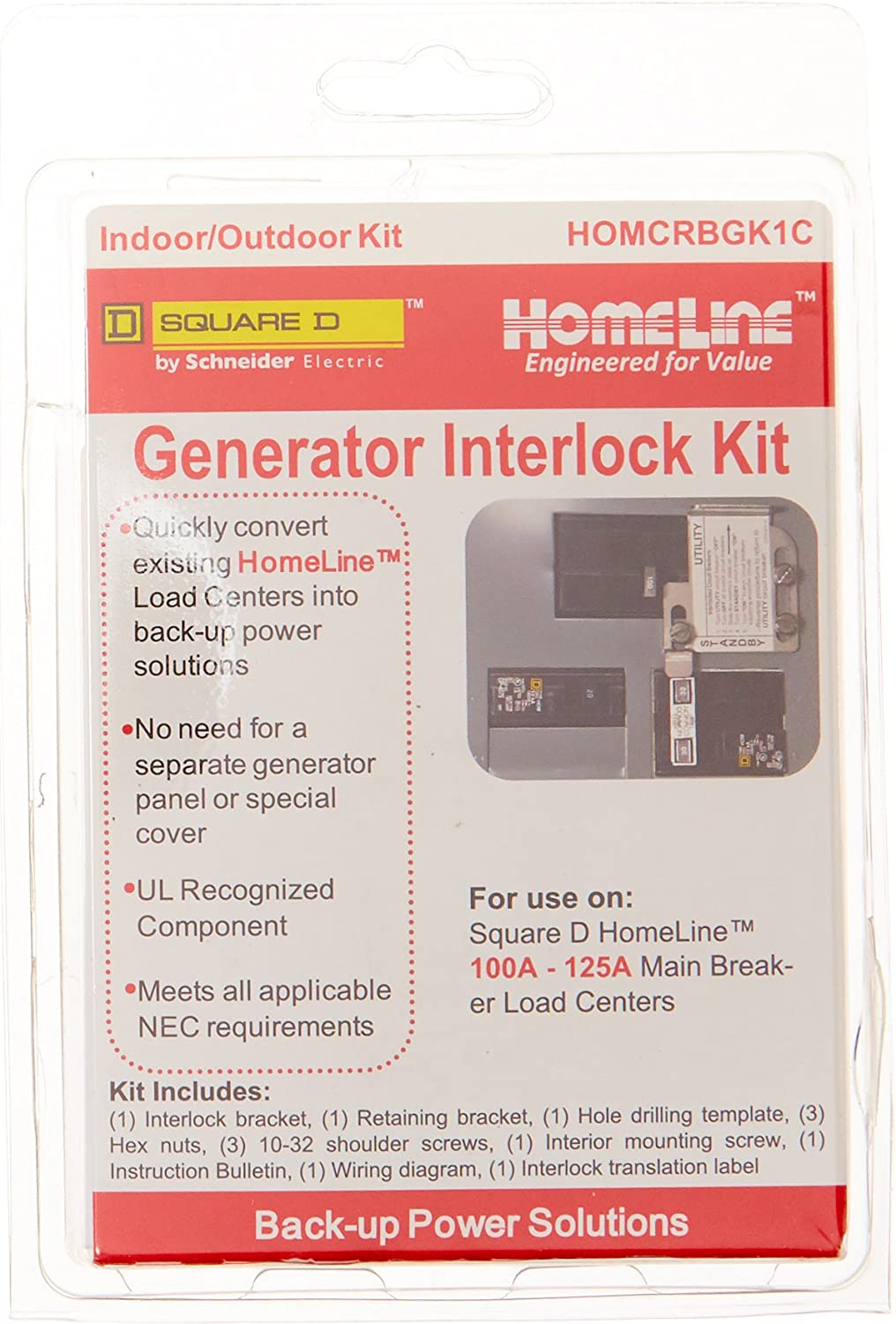 Amazon.com: Square D by Schneider Electric HOMCRBGK1C 100 Amp Homeline Load  Center Outdoor Generator Inter-Lock Kit: Home ImprovementAmazon.com