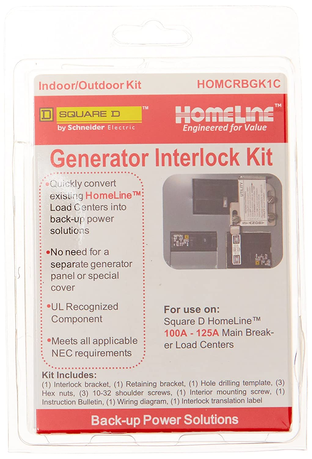 Square D By Schneider Electric Homcrbgk1c 100 Amp Electrical Interlock Wiring Diagram Homeline Load Center Outdoor Generator Inter Lock Kit Home Improvement
