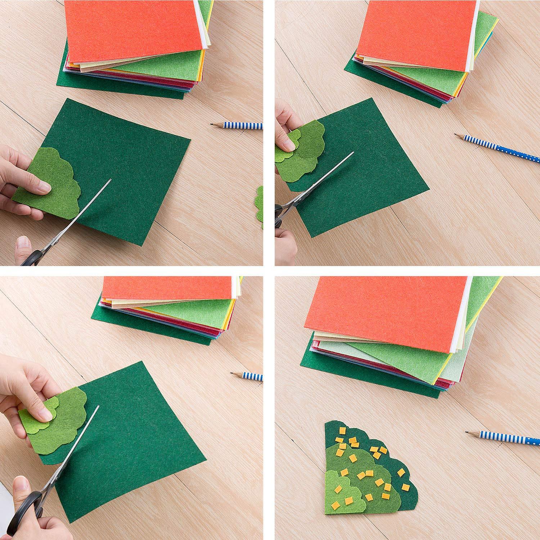 Hoja de Fieltro, Comius 40 Colores 15 x 15 cm No Tejido Tela de Fieltro Suave Felt Fabric para Manualidades Patchwork Costura DIY Artesanía