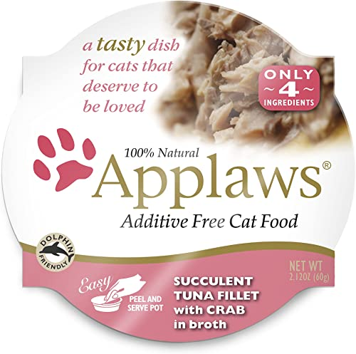 Applaws Succulent Tuna Fillet with Crab Cat Food Cups, 100 Natural, 18 x 2.12 oz