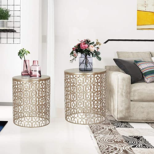 Adeco Decorative End Round Nesting Accent Side Coffee Tables Nightstand, Set of 2, Gold