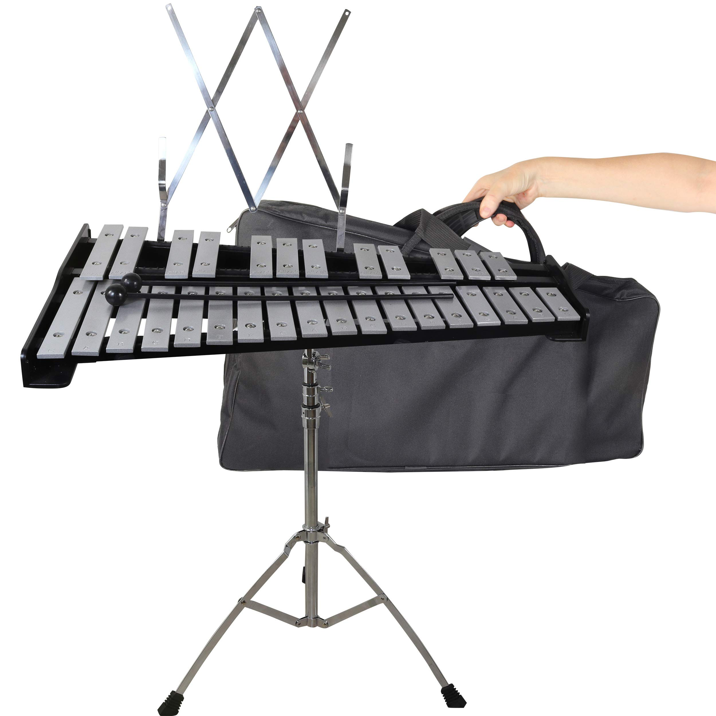 30 note Professional Glockenspiel - Metal Bell Kit Xylophone with Stand, Note Holder and Carrying Bag by inTemenos