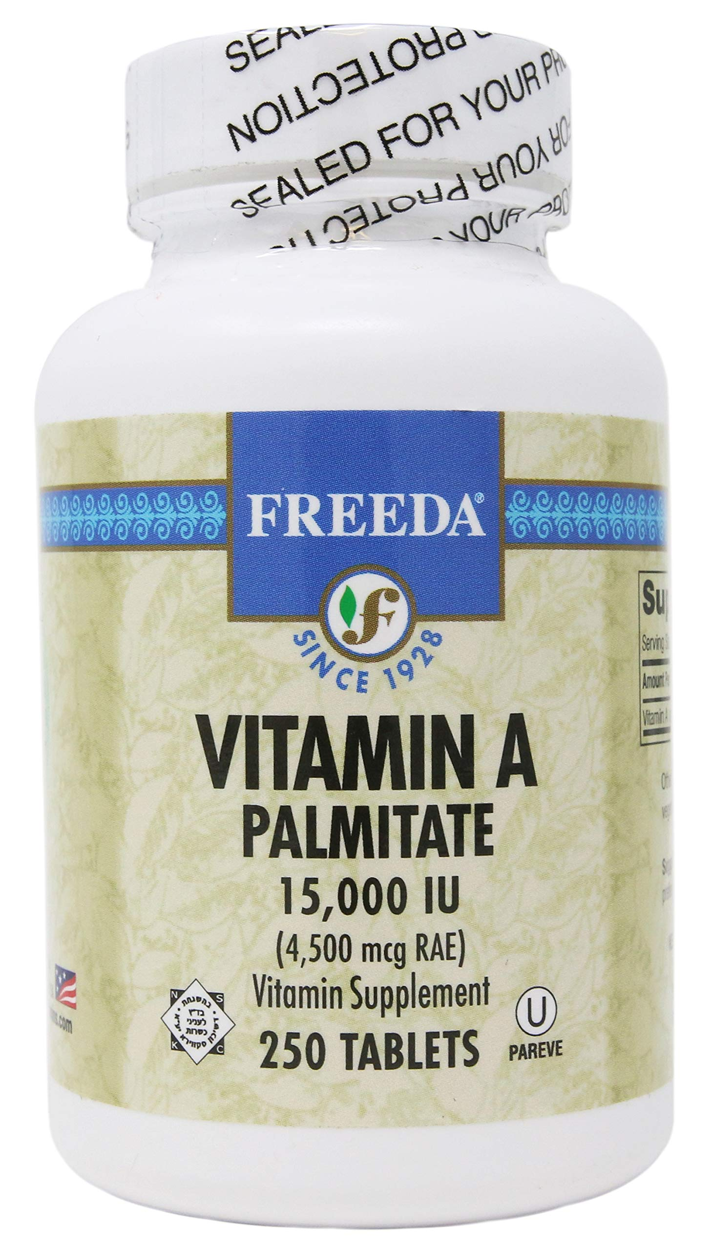 Freeda Kosher Vitamin A Palmitate 15,000 I.U. - 250 TABLETS by Freeda