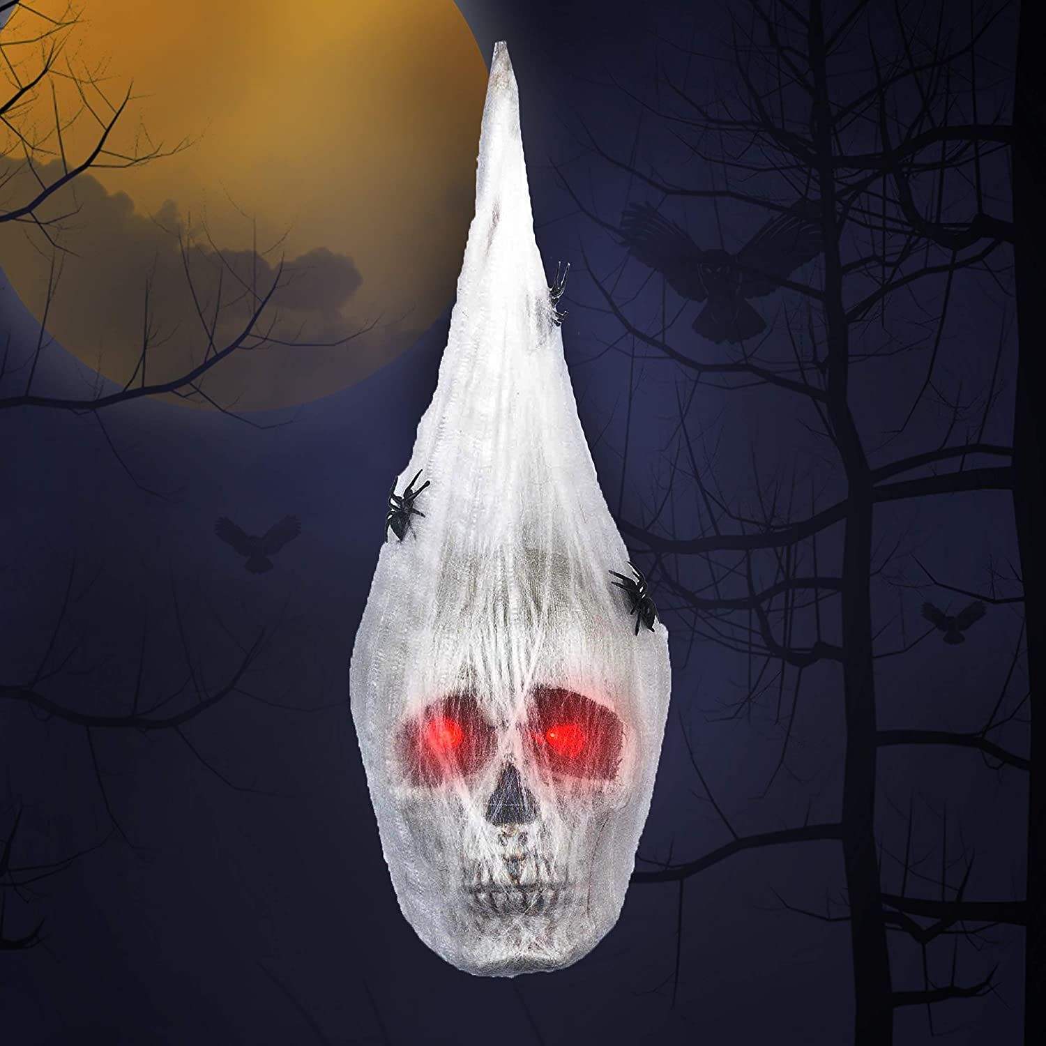 Halloween Animated Hanging Skulls Head covered with Spider Webs and Light Up Eyes, Halloween Hanging Decorations, Halloween Party Decorations, Outdoor Lawn Decor, Halloween Wall Hanging Decor
