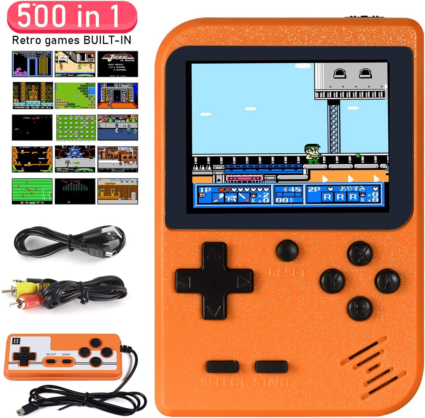 Imponigic Handheld Game Console Retro Mini Game Player with 500 Classical FC Games Double Players Mode Support Connect TV: Electronics