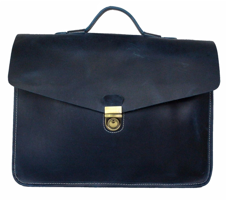 Corno d´Oro Herren Leder Aktentaschen, große Umhängetasche bis 15.6 Zoll Laptoptasche, leichte Schultertasche vintage Echtleder blau PB36 PB36B