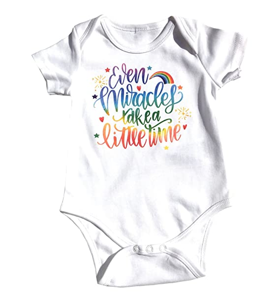 67e4c6c57 Amazon.com: Even Miracles Take A Little Time -Rainbow Baby Shower- Rainbow  Baby Outfit-Rainbow Announcement -Rainbow Baby Gifts: Clothing
