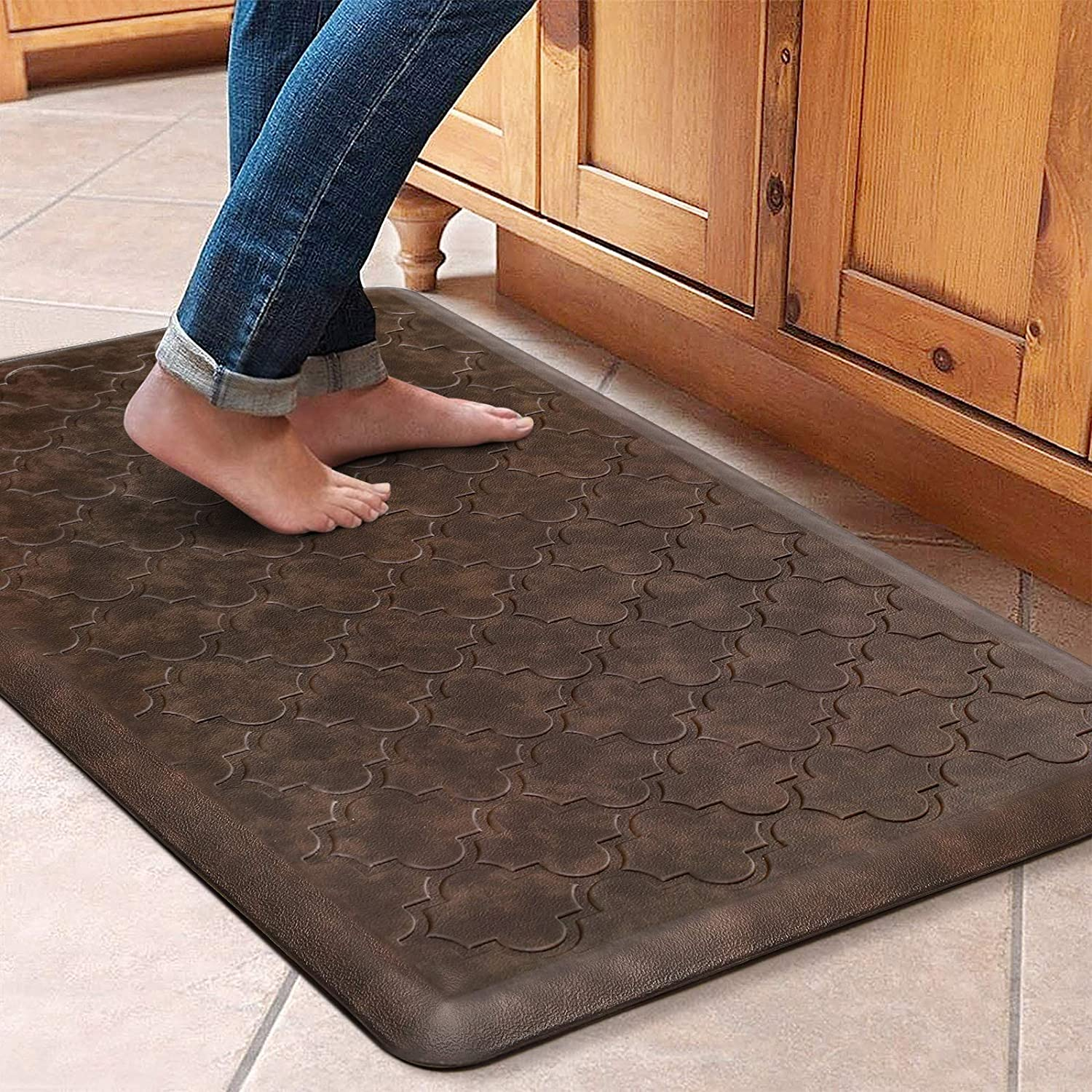"""WiseLife Kitchen Mat Cushioned Anti Fatigue Floor Mat,17.3""""x28"""",Thick Non Slip Waterproof Kitchen Rugs and Mats,Heavy Duty PVC Foam Standing Mat for Kitchen,Floor,Home,Office,Desk,Sink,Laundry,Brown"""