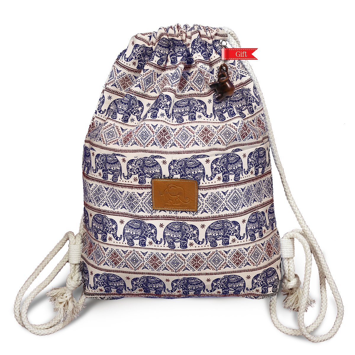Thailand Elephant Print Drawstring Bag Medium Size 16 Inch (Navy Red Mono)