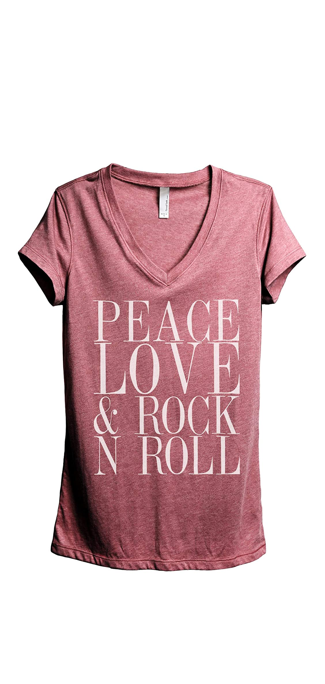 Peace Love And Rock 'n Roll Women's Fashion Relaxed V-neck Tee