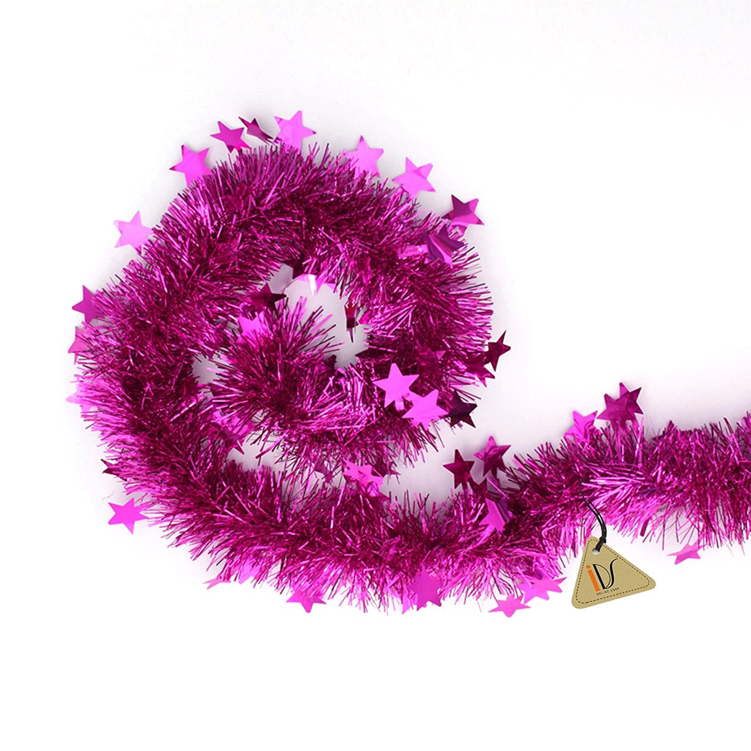 Amazon Com Pink Tinsel Garland Stars Christmas Tree Decorations  - Pink Feather Christmas Tree