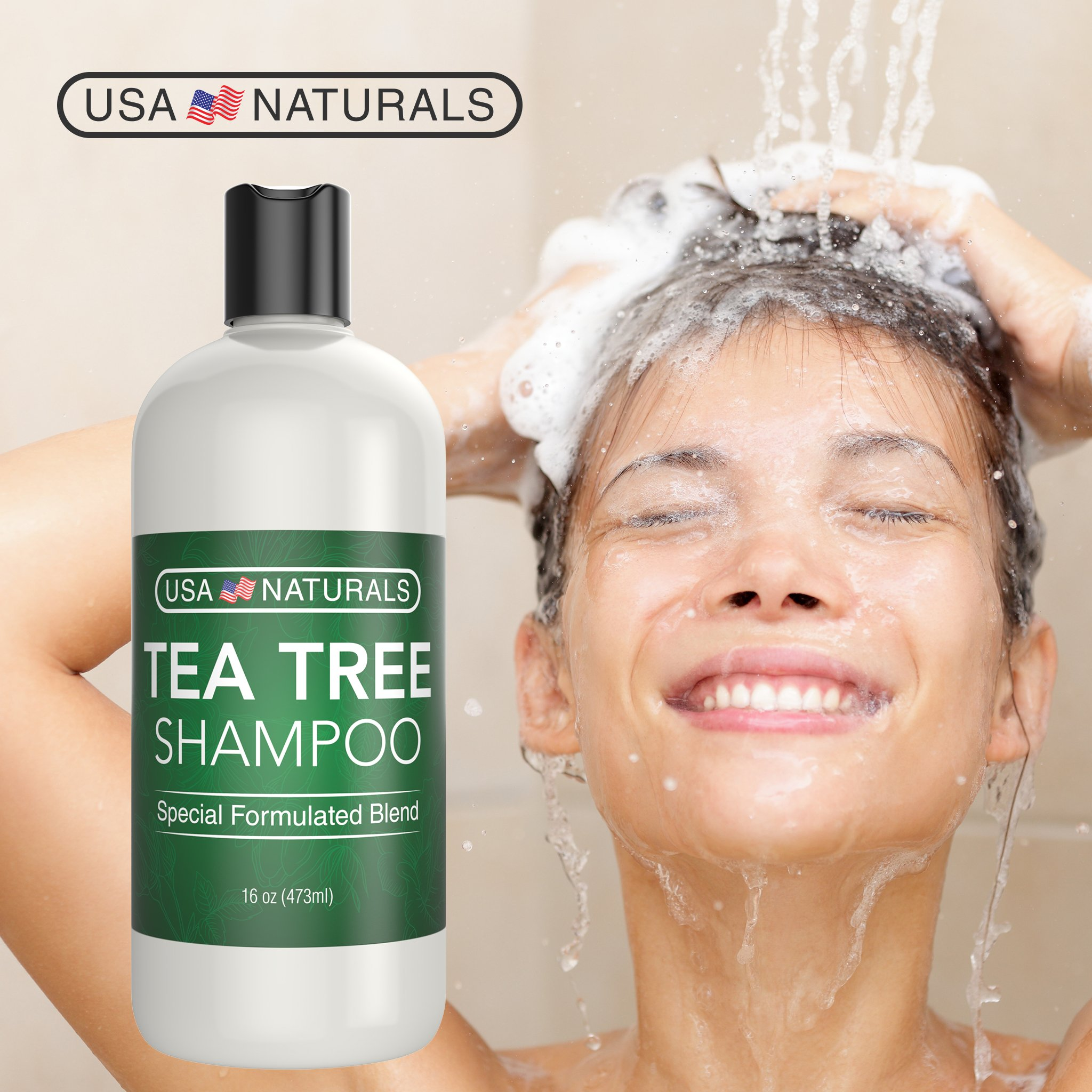 Tea Tree Oil Shampoo Sulfate-Free: Revitalize Hair, Combat Hair Loss and Cleanse Scalp with Naturally-Sourced Ingredients - Pure Tea Tree Oil, Organic Argan Oil, Organic Green Tea (Tea Tree Shampoo) by USA Naturals (Image #2)
