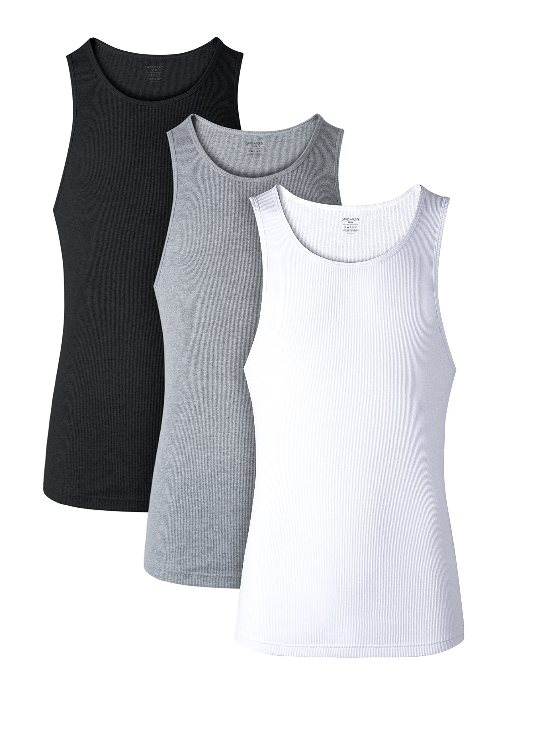 David Archy Men's 3 Pack Cotton Rib Tank Top A-Shirts Sleeveless Workout Undershirts(Black/White/Heather Dark Gray,S)