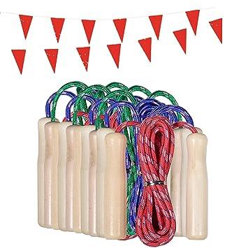 Partituki Pack de 10 Cuerdas para Saltar. Combas con Mango de Madera y una Guirnalda de 10 m. Ideal para Juegos al Aire Libre y Detalles de Cumpleaños ...
