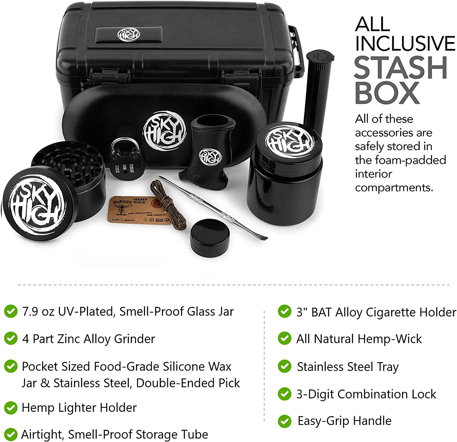 Sky High Plastic Stash box with accessories